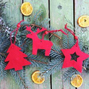 Karácsonyfadísz, piros filc 12 darabos