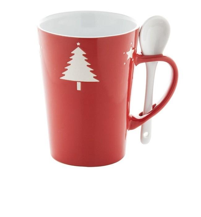 Piros bögre, karácsonyi mintás